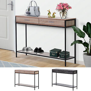Console Table Worktop Bottom Shelf Industrial Minimal Style Two Drawer Home