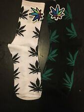 2- Pack MARIJUANA Weid LEAF SKATING SOCKS  1-BLACK AND 1-WHITE