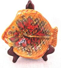 (4) Four Decorative Fish Dish Bowls Candy Plates Hand Painted (1972) Matched Set