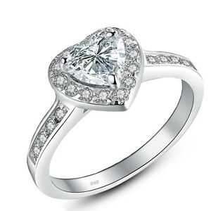 1.90 Ct Sterling Silver 925 Heart Shaped CZ Halo Engagement Ring Set Size 5-10