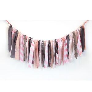 Pink Lace Fabric Garland Handmade - Rag Bunting Wall Wedding Boho Party Backdrop