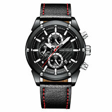 Mens Quartz Watch Black Leather Belt Three Dials Date Luminous Business Casual