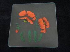 "VINTAGE GLASS PLATE SERVING TRAY HAND PAINTED FLOWERS 8"" SQ VERY GOOD CONDITION"
