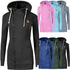 N004 Damen Pullover Long Kapuzenpullover Sweatshirt Hoodie Jacke Langarm