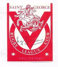 "REG GASNIER ~ RUGBY LEAGUE ""IMMORTAL"" ~ HAND SIGNED LABEL ~ St GEORGE R.L.C."