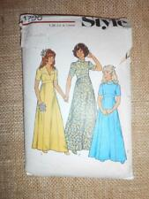 Style 1724 Sewing Pattern 70s BRIDESMAID flower girl LONG DRESS 7-8yrs