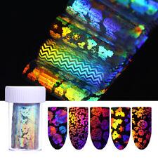 8Pcs Transparent Holographic Nail Art Foil Laser Rose Flower Transfer Stickers