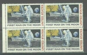 US 10c Apollo Moon Landing Mint NH Block w/ 2 Stamps Almost Missing Red Error