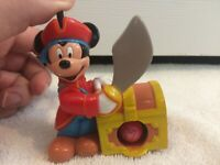 Vtg Disney Mickey Mouse Pirate Push Action w/ Movable Arm Toy & 4 Disney Marbles