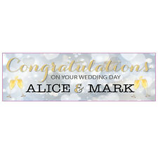 2 PERSONALISED 800MM X 297MM WEDDING BANNERS - ANY NAMES