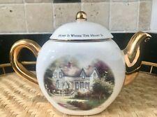 """Thomas Kinkade """"Home is Where the Heart Is Ii"""" 4 Cup Teapot"""