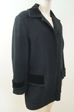 VIYELLA Black Wool Blend Velvet Detail Winter Lined Jacket Coat UK14