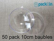 10cm (x50 qty) Clear Acrylic Two Piece ROUND Baubles Balls christmas ornaments