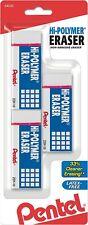 Pentel Hi Polymer Block Eraser Large 3 Pack White No Smudges No Tear New