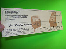 Nutting Industries 1969 Vintage Arcade Game Promo Sales Flyer $200 Voucher Sheet