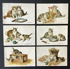 A/S Jules LeRoy Cat Postcards (6) Cats With Baskets, Yarn, Cigars, Mouse In Cage