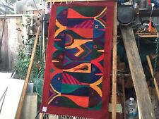zapotec weaving by a martinez from oaxaca wall hanging or rug on wood runner