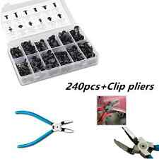 240Pcs 12 Model Car Body Shield Push Type Retainer Clip Assortment+Puller Tools