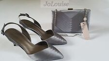 New Jacques Vert Shoes & Clutch Bag ~ Size UK 6 ~ Grey Pleated Slingback