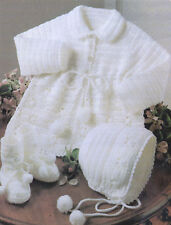 "BABY CROCHET PATTERN TO MAKE 16- 20"" Matinee Coat Bonnet Bootees Pram Set 3 ply"