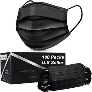 50/100 PCS Face Mask Mouth & Nose Protector Respirator Masks USA Seller Black
