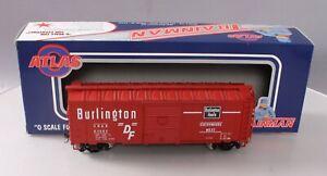 Atlas 0557-1 O Scale Burlington 40' Sliding Door Boxcar #63662 [2Rail] LN/Box