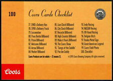 Coors Cards Checklist #100 Coors Beer Trade Card (C389)