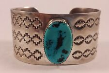 Huge Clyde Begay Navajo Indian Sterling Silver Turquoise Stampwork Bracelet Cuff