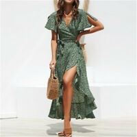 Womens Ladies V Neck Belted Dress Ladies Summer Floral Cocktail Party Maxi Dress