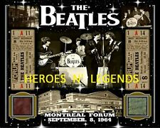 THE BEATLES 8x10 COLLAGE PHOTO SEPT 8, 1964 W/ MONTREAL FORUM WHITE-MAROON SEAT