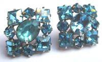 boucles d'oreilles à vis couleur argent bijou vintage cristal bleu topaze 2699