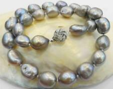 """100% Natural 9-10MM Gray Freshwater Baroque Pearl Necklace 18"""""""