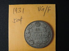 1931 50 Cent Coin Canada King George V Fifty Cents .800 Silver VG/F Grade
