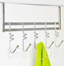 Chrome Over The Door Hanging Hooks Rack Bath Towel Clothes Coat Holder Hanger