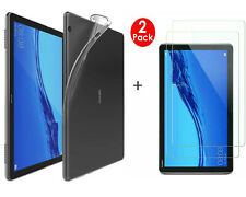 "Tempered Glass Film Screen Protector For Huawei MediaPad T5 10.1"" & Soft TPU Gel"