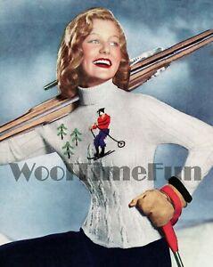 Knitting Pattern Ladies Vintage  1940s/1950s Ski/Xmas/Motif Sweater.
