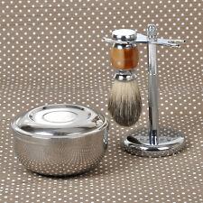 Rasierset Silber Dachshaar Rasiere Rasierpinsel mit Halter Ständer Stand Schale