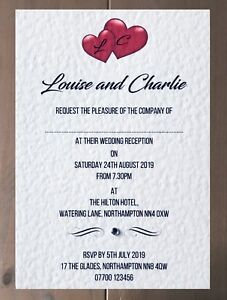 Sample Wedding Invitation - Entwined Hearts Design with Diamanté - Many Colours!