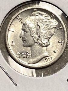 1917-P Mercury Dime (Nice Coin, AU Details)