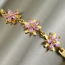 Awesome Three Pink Flower Gems Jewelry Yellow Gold Filled Woman Bracelet B1049