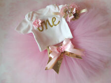 first birthday outfit ,Gold One bodysuit, Pink And Gold tutu set,outfit