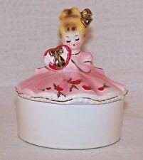 Vtg Josef Originals Valentine Hearts Girl Trinket Jewelry Box pink dress JAPAN