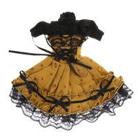 30cm BJD Puff Sleeve Beam Waist Dress w/Hairband for 1/6 BJD Girl Doll Accs