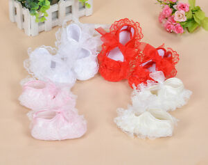 Baby Girls Satin Christening Shoes Pink Red White Yellow Ivory 0 3 6 9 Month