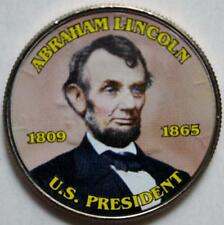 JFK KENNEDY HALF DOLLAR CIVIL WAR ABRAHAM LINCOLN COLORIZED COIN UNC