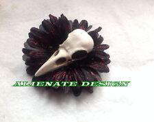 Steampunk Burlesque Nero Rose CROW SKULL capelli clip Fascinator con Zombie Tiki