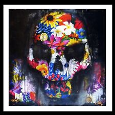 STREET ART  PAINTING HIGH QUALITY  GRAFFITI  HAPPY SKULL FLOWER BY ANDY BAKER