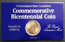 1988 UNC 50c COMMEMORATIVE BICENTENNIAL COIN ON CARD LOT 1