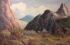 Vintage Landscape Painting Signed F McCoy Mountains Impasto Oil Canvas 1940's?