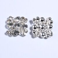 15PCS 27MM Hot Silver Crystal Snow Rhinestone Button For Flower Accessory Metal